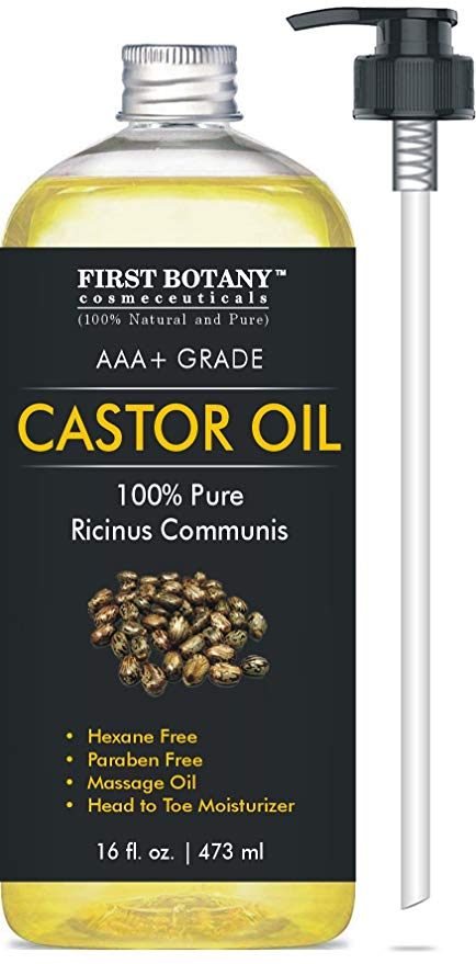 Castor oil 16 fl oz - The BEST Emollient for Skin, Hair & Nail Care - Can be used as Hair Growth Serum, Face & Body Moisturizer, Eyebrow Serum and Eyelash Serum