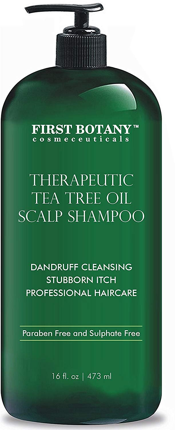 Tea Tree Oil Shampoo 16 fl oz - Anti Dandruff Shampoo Natural Essential Oil For Dry Itchy & Flaky Scalp - Sulfate Free, Anti-fungal, Anti-Bacterial Cleanser - Prevents Head Lice & Thinning