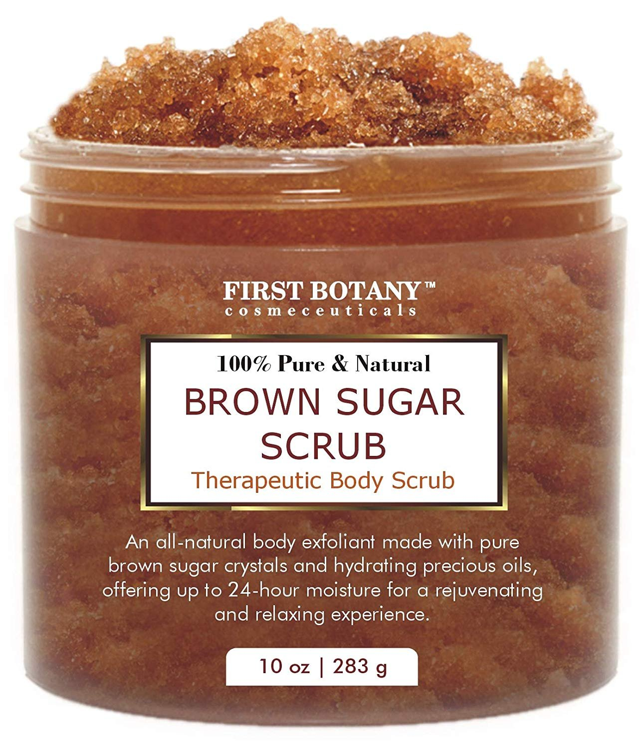 Brown Sugar Natural Body Scrub - 100% Natural Best for Acne, Cellulite Cream/Scrub and Stretch Mark treatment, Moisturizer, Face Scrub 10 oz