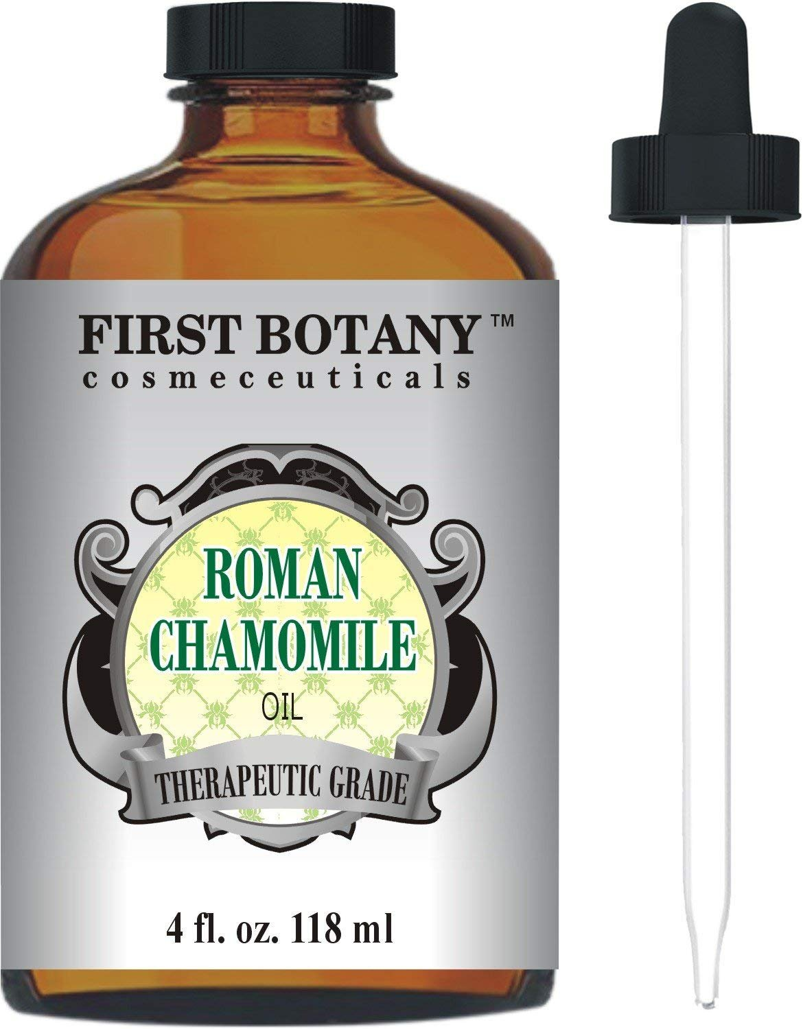 Roman Chamomile Essential Oil with a Glass Dropper - Large 4 fl. oz- Best Premium Quality Oil