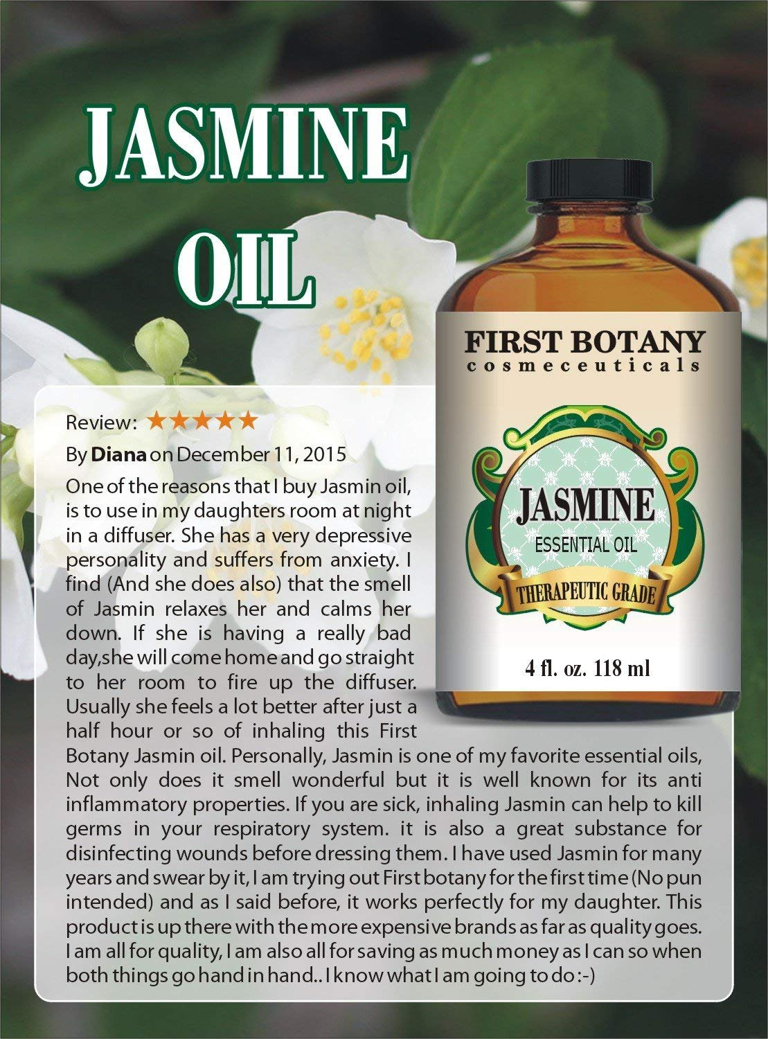 Jasmine Oil 4 fl. oz. With a Glass Dropper - Premium Quality & Therapeutic Grade - Ideal for Aromatherapy & Maintaining Healthy Skin