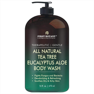 ALL Natural Tea Tree Body Wash - Fights Body Odor, Athlete's Foot, Jock Itch, Nail Issues, Dandruff, Acne, Eczema, Yeast Infection, Shower Gel for Women/Men, Eucalyptus Aloe Skin Cleanser -16 fl oz