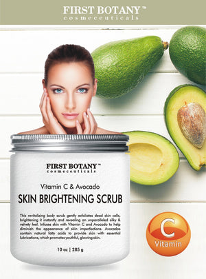 Vitamin C & Avocado Skin Brightening Scrub 10 oz - the BEST Revitalizing body scrub and exfoliator- Infuses skin with Vitamin C and Avocado to help diminish the appearance of skin imperfections