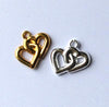 Pack of 10x Linked Hearts Charms - Gold