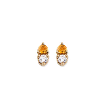 CITRINE & DIAMOND ANTIQUE DOUBLE STUDS