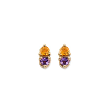 CITRINE & AMETHYST ANTIQUE DOUBLE STUDS