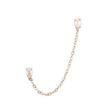 PEAR DIAMOND CHAIN EARRING