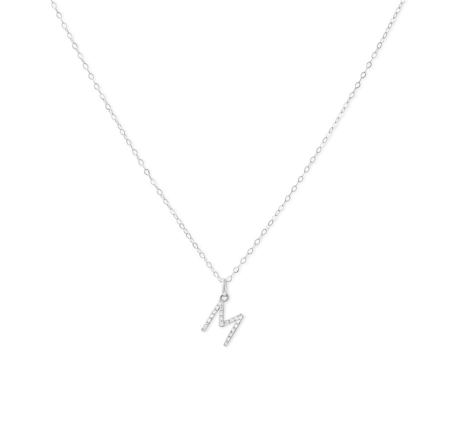 WHITE GOLD DIAMOND INITIAL NECKLACE