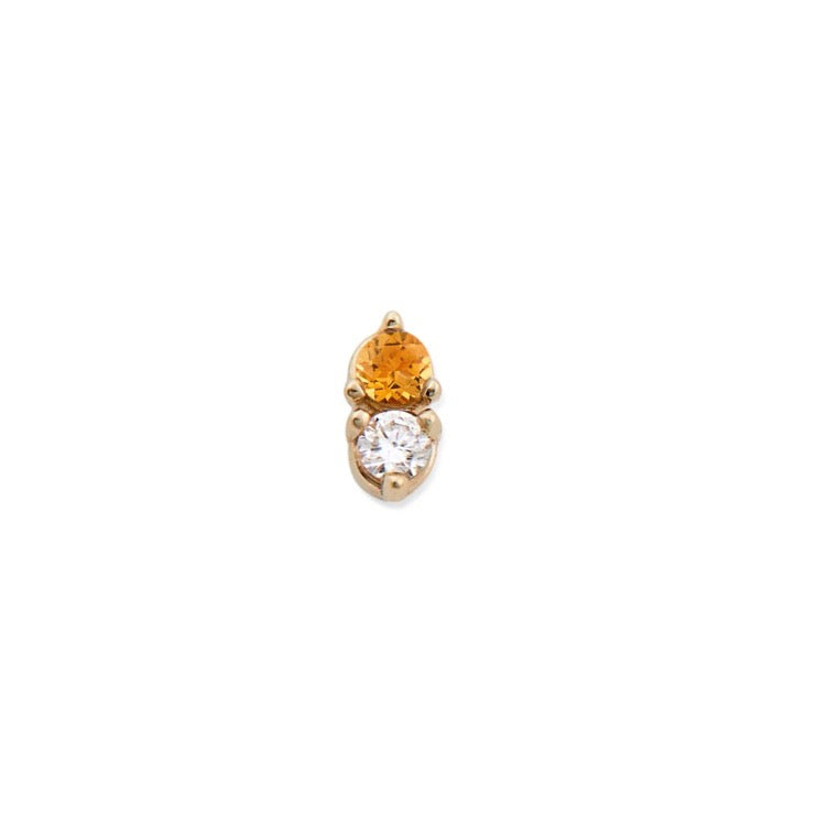 CITRINE & DIAMOND ANTIQUE DOUBLE STUD