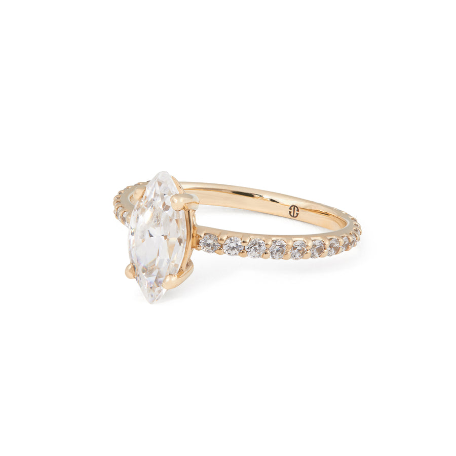 MARQUISE DIAMOND ENGAGEMENT WITH PAVE BAND