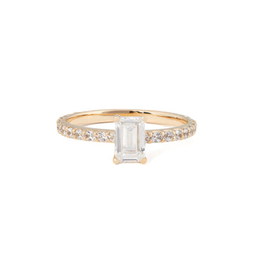 EMERALD CUT DIAMOND ENGAGEMENT RING WITH PAVE BAND