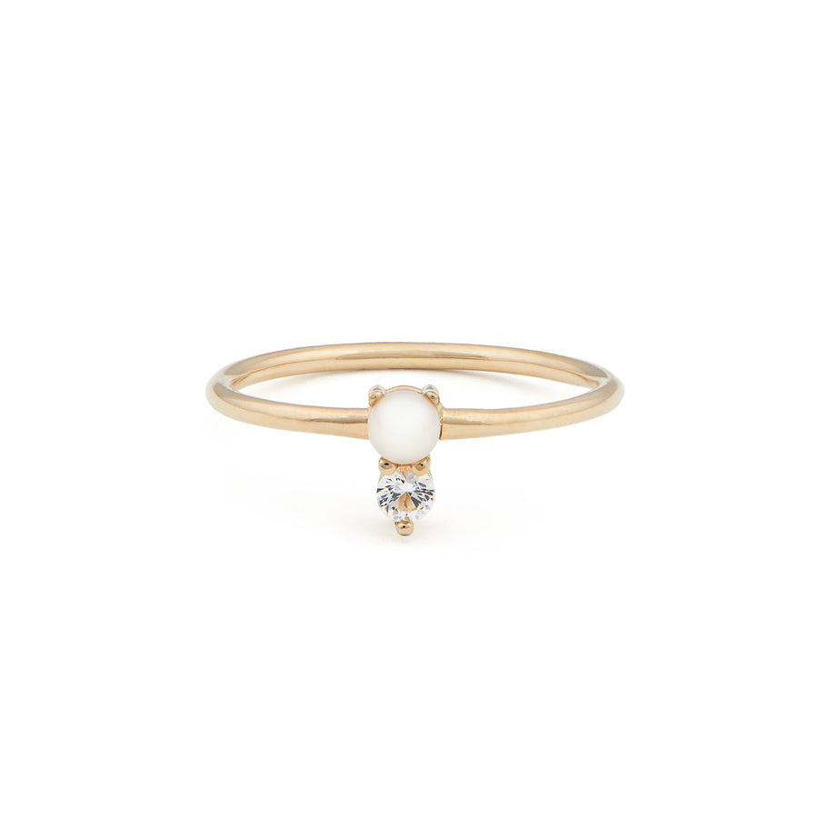 PEARL & SAPPHIRE DROP RING
