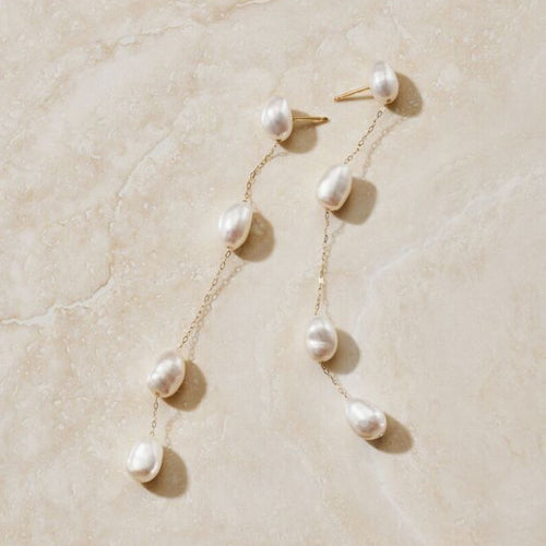 ERTH ENDLESS TEARDROP PEARL & DIAMOND EARRINGS