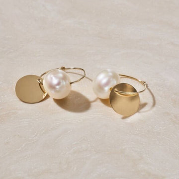 "ERTH ""SOL Y LUNA"" PEARL SLEEPER EARRINGS"