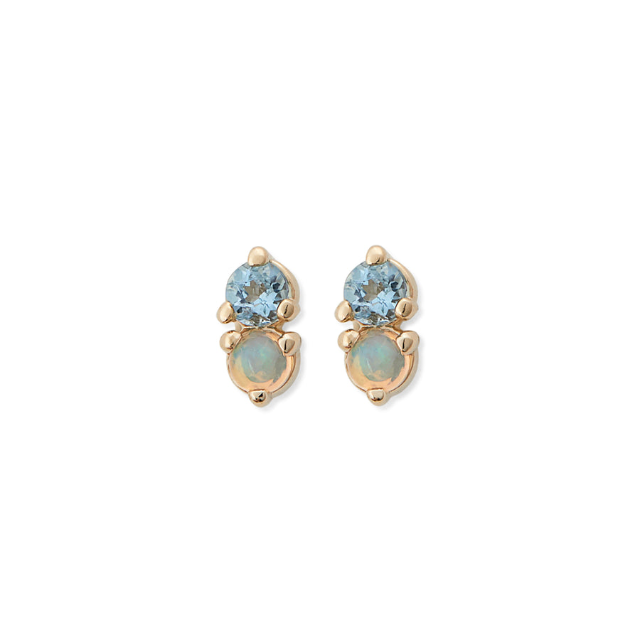 OPAL & AQUA MARINE ANTIQUE DOUBLE STUD