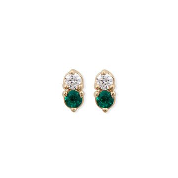 DIAMOND & EMERALD ANTIQUE DOUBLE STUD