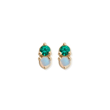 OPAL & EMERALD ANTIQUE DOUBLE STUDS