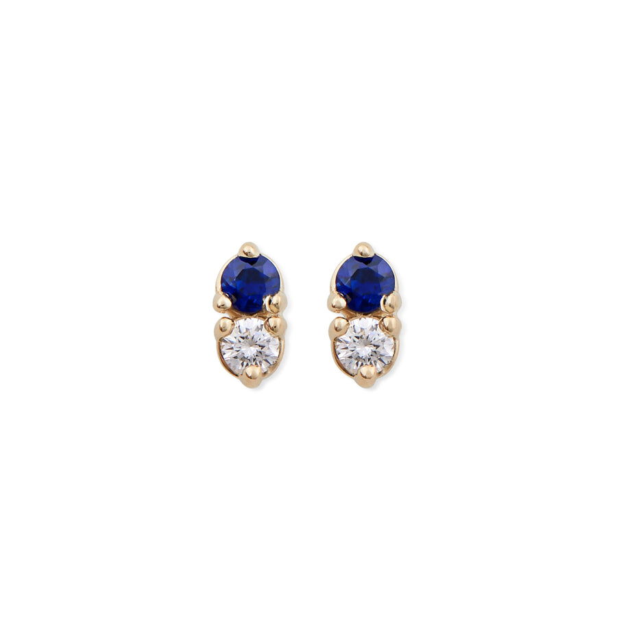 DIAMOND & SAPPHIRE ANTIQUE DOUBLE STUDS