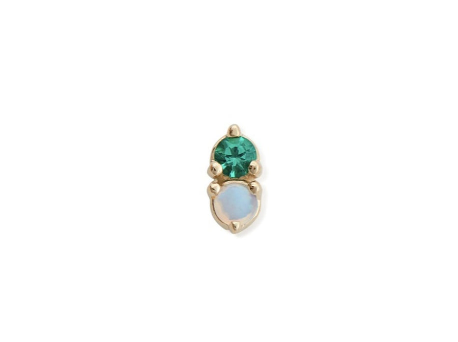 OPAL & EMERALD ANTIQUE DOUBLE STUD