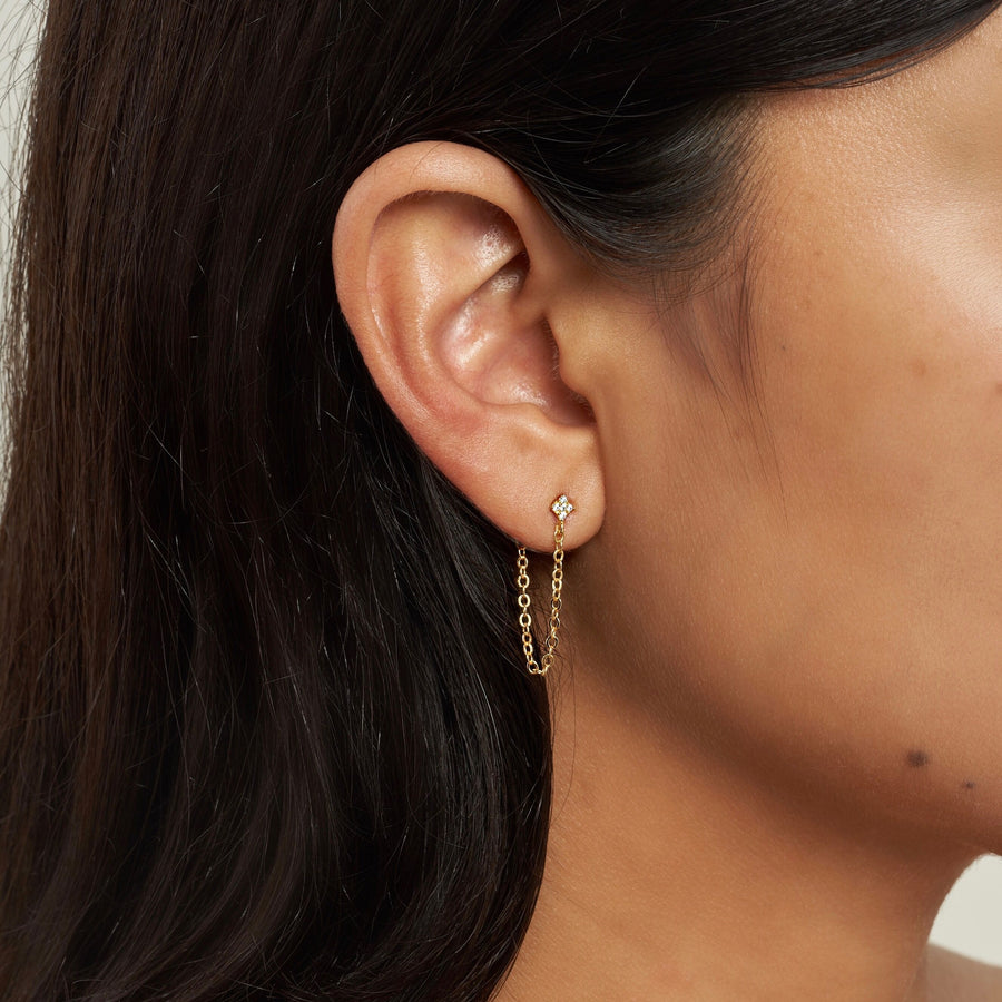 SHIMMERING STAR CHAIN  EARRING