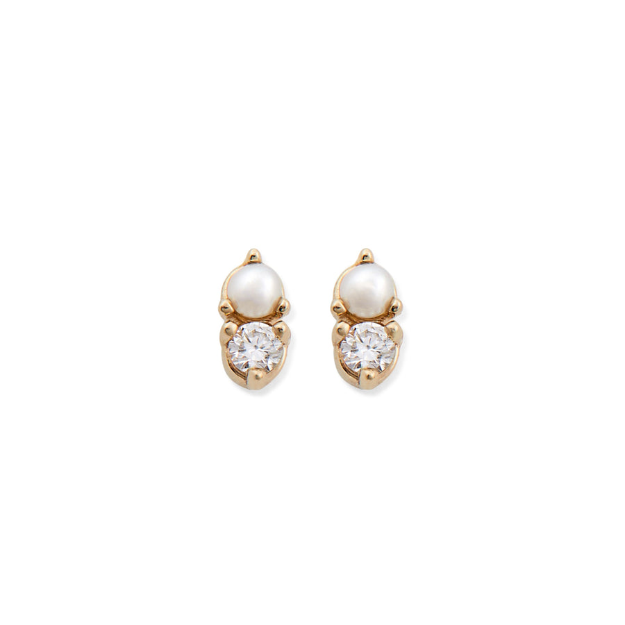 DIAMOND & PEARL ANTIQUE DOUBLE STUDS