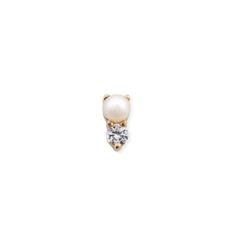 PEARL & WHITE SAPPHIRE DROP STUD