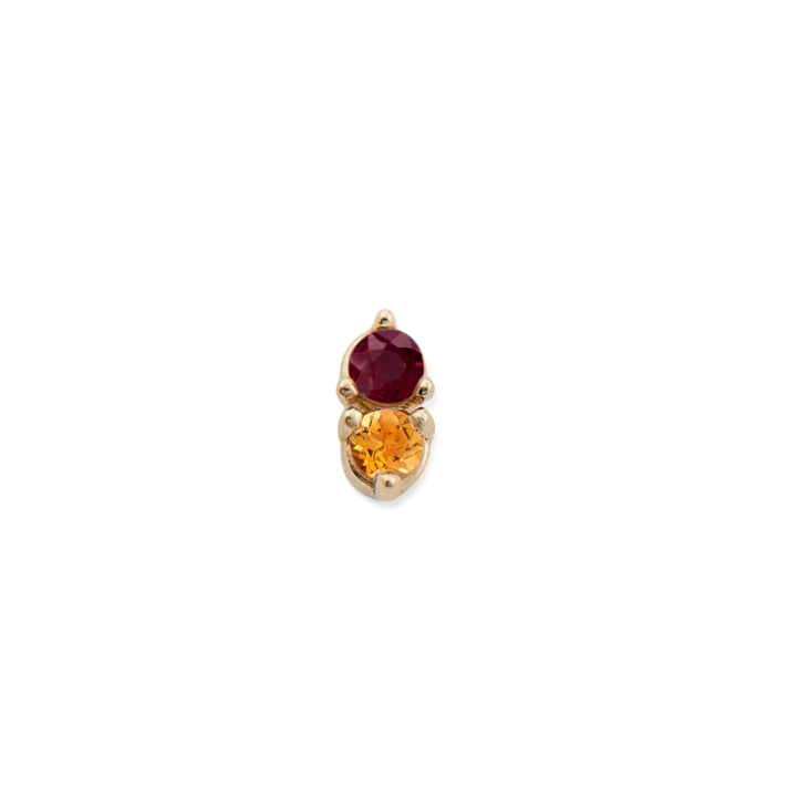 CITRINE & RUBY ANTIQUE DOUBLE STUDS