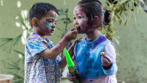 Happy and fun holi with family