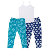 Maritime Print Leggings and Vest Set for Girls