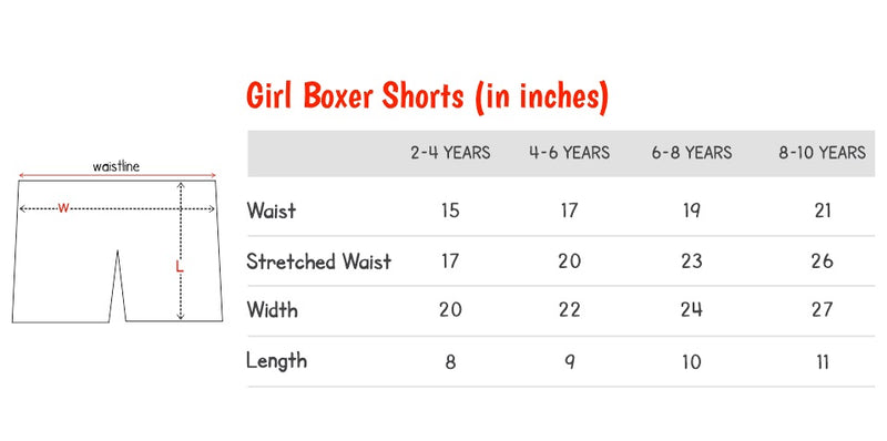 Size Chart of Girl Boxers on plan b