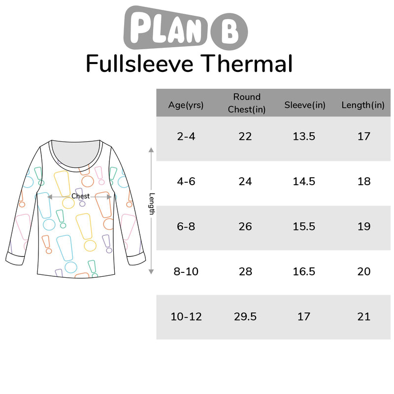 Snowbound Full Sleeve Thermal Top Size Chart