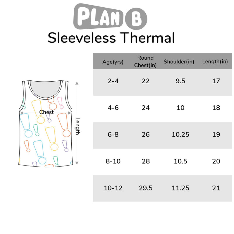 Foxtail Sleeveless Thermal Top Size Chart