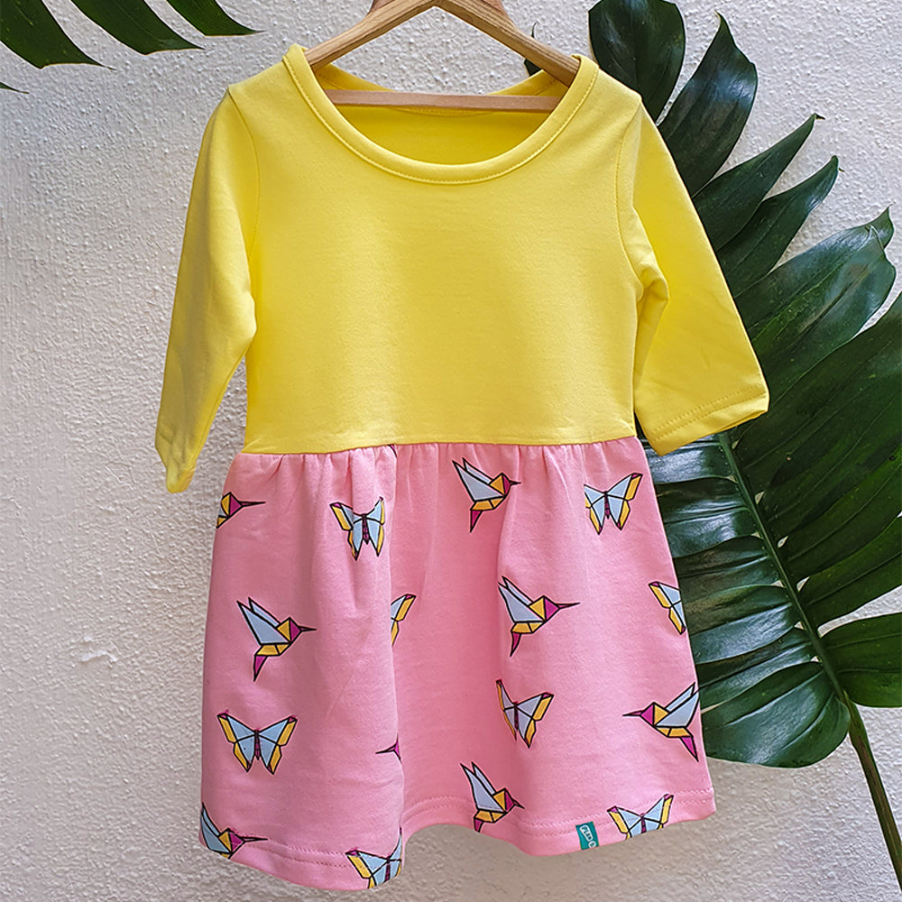 Birds and Butterflies Print Dresses for Girls