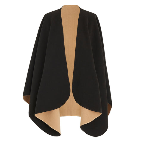 Camel / Black Reversible Fleece Cape