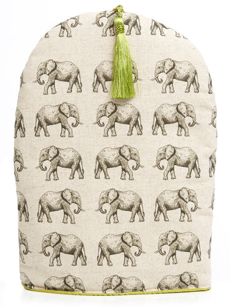 Handmade coffee cosy with tassel, which forms a part of the Elephant collection from Hats Off. Made in Cape Town, South Africa