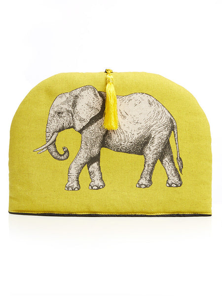 Handmade tea cosy with tassel, which forms a part of the Elephant collection from Hats Off. Made in Cape Town, South Africa