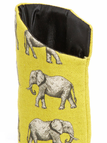 Handmade sunglass pouch from the Elephant collection by Hats Off. Made in Cape Town, South Africa.