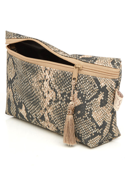 Short Cosmetic Purse - Snake Skin