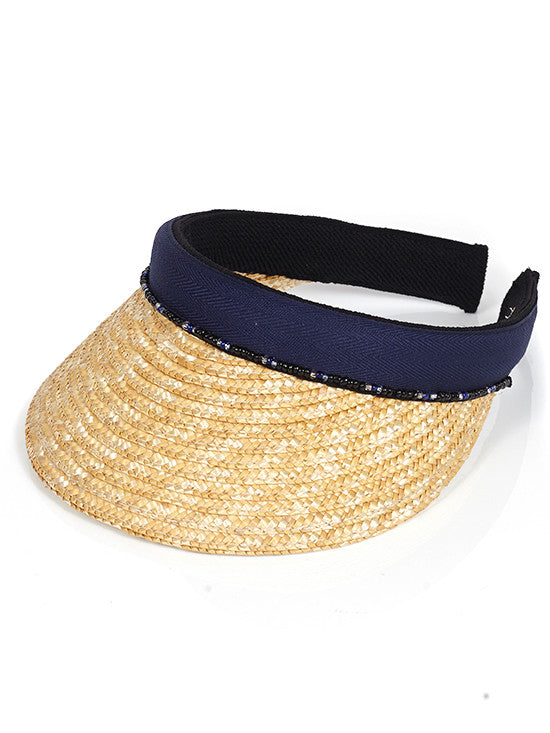 Navy Straw Peak with Beads