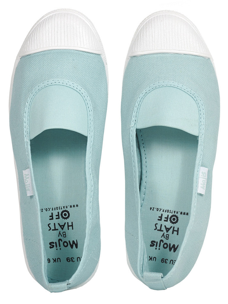 Teal green Moji by Hats Off. A fashionable and comfortable ladies canvas slip on shoe available in Cape Town, South Africa.