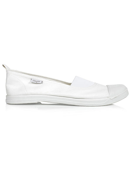 Classic white Moji by Hats Off. A fashionable and comfortable ladies canvas slip on shoe available in Cape Town, South Africa.