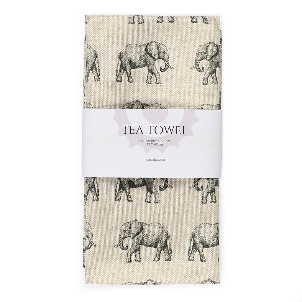 TEA TOWEL - NATURAL ELEPHANT
