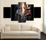 HD Printed Civil War - Captain America vs Iron Man - Movies 5 Pieces Canvas