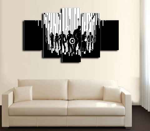 HD Printed The Avengers 5 Piece Canvas Black And White