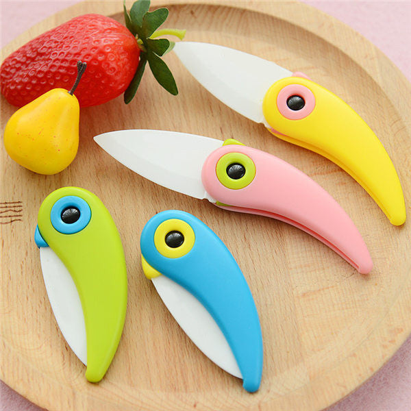 4-Color Bird Shape Folding Ceramic Knife Kitchen Tool Vegetable Fruit Knives For Kitchen Wholesale Kitchen Ceramic Accessories