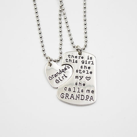 DADDY GRANDPA GRANDMA Pendant Necklaces Keychain Set Key Chain Heart Tag