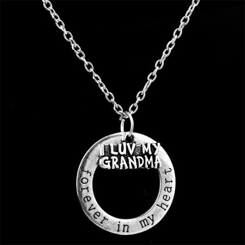 I Love You Grandma Necklaces Pendant Mom Classic Forever in My Heart Grandson Granddaughter Necklace Fine Jewelry