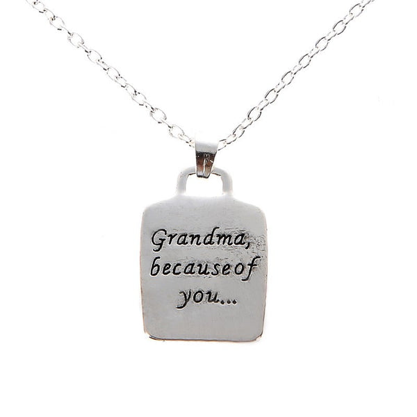 New Grandma Because Of You Letters Geometric Pandent Necklace Chain Necklaces Fashion Jewelry