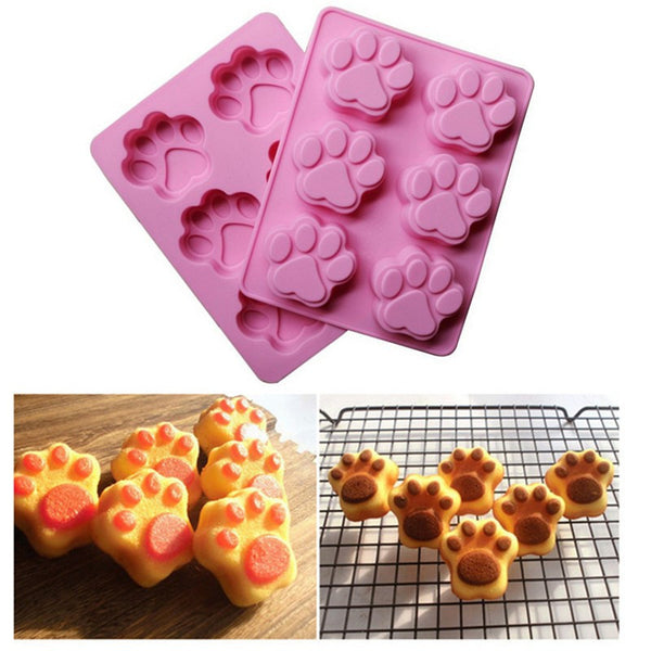 Cat's Paw Silicone Molds Fondant Decorating Tools Cute Cat Paw 6Cups Soap Chocolate Puddy Ice Silicone Mould Silicone Cake Mold