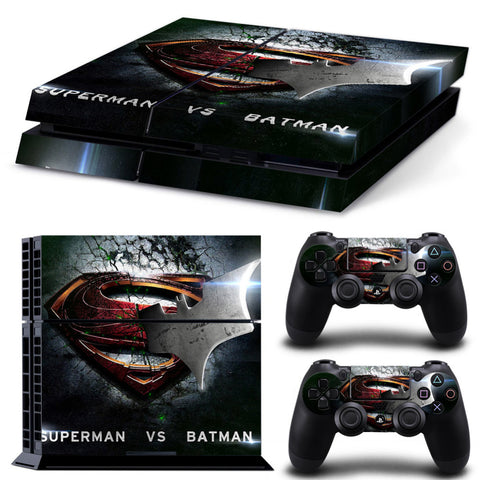 Batman VS Superman LOGO Protective Vinly Decal Skin Wrap For PS4 Console Skin Stickers+2Pcs Controller Protective Skin